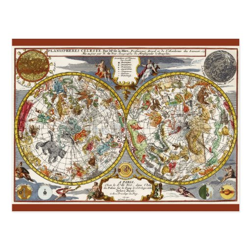 vintage astronomy celestial planisphere map postcard zazzle. Black Bedroom Furniture Sets. Home Design Ideas