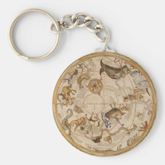 Vintage Astronomy, Celestial Planisphere Star Map Key Ring