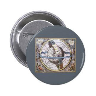 Vintage Astronomy, Celestial Planisphere Zodiac 6 Cm Round Badge