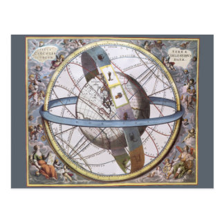 Vintage Astronomy, Celestial Planisphere Zodiac Postcard