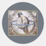 Vintage Astronomy, Celestial Planisphere Zodiac Round Sticker