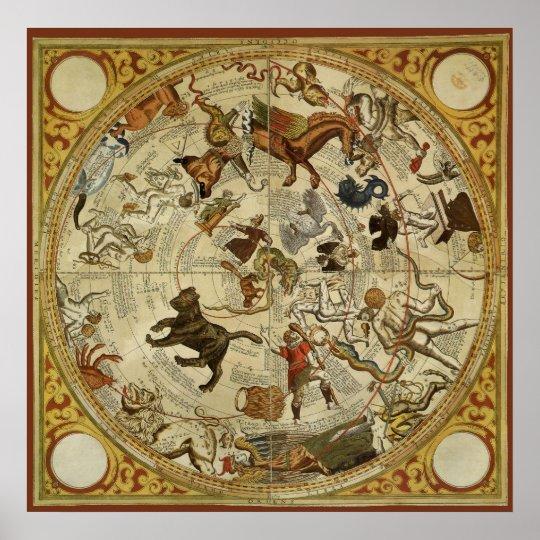 Vintage Astronomy, Celestial Sky Map Star Chart