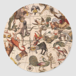 Vintage Astronomy, Celestial Star Chart Map of Sky Classic Round Sticker