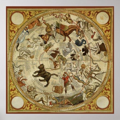 Vintage Astronomy, Celestial Star Chart, Sky Map Print