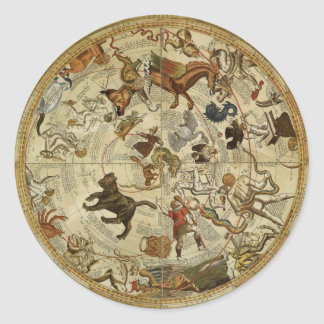 Vintage Astronomy, Celestial Star Chart, Sky Map Classic Round Sticker