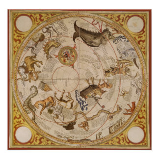 Vintage Astronomy Celestial Star Planisphere Map Poster