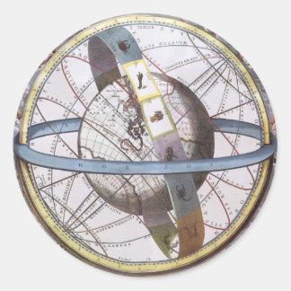 Vintage Astronomy, Celestial Zodiac Planisphere Round Sticker