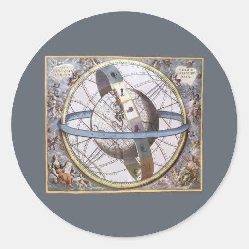 vintage astronomy celestial zodiac planisphere round sticker zazzle. Black Bedroom Furniture Sets. Home Design Ideas