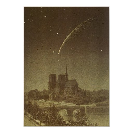 Vintage Astronomy, Donati Comet over Paris, 1858 13 Cm X 18 Cm Invitation Card