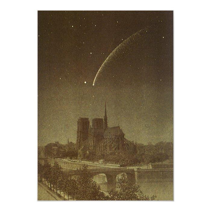Vintage Astronomy, Donati Comet over Paris, 1858 13 Cm X 18 Cm Invitation Card
