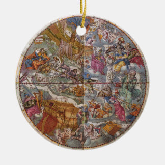 Vintage Astronomy, Map of Christian Constellations Round Ceramic Decoration