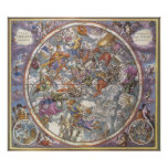 Vintage Astronomy, Map of Christian Constellations Poster