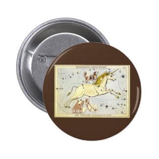 Vintage Astronomy, Monoceros Unicorn Constellation 6 Cm Round Badge