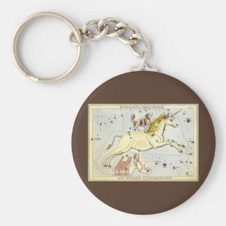 Vintage Astronomy, Monoceros Unicorn Constellation Basic Round Button Key Ring