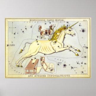 Vintage Astronomy, Monoceros Unicorn Constellation Poster