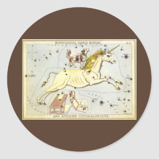 Vintage Astronomy, Monoceros Unicorn Constellation Round Sticker