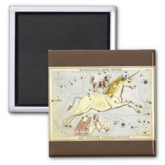 Vintage Astronomy, Monoceros Unicorn Constellation Square Magnet
