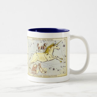 Vintage Astronomy, Monoceros Unicorn Constellation Two-Tone Coffee Mug