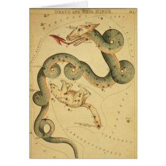 Vintage astronomy print Draco & Ursa Minor Card