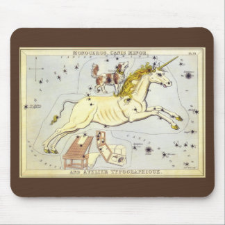 Vintage Astronomy Unicorn Monoceros Constellation Mouse Pad