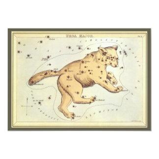 Vintage Astronomy, Ursa Major Constellation, Bear 13 Cm X 18 Cm Invitation Card