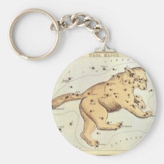 Vintage Astronomy, Ursa Major Constellation, Bear Basic Round Button Key Ring