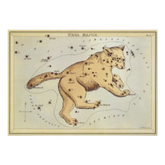 Vintage Astronomy, Ursa Major Constellation, Bear Poster