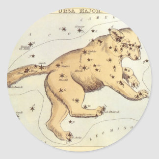 Vintage Astronomy, Ursa Major Constellation, Bear Round Sticker