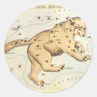 Vintage Astronomy, Ursa Major Constellation, Bear Round Sticker