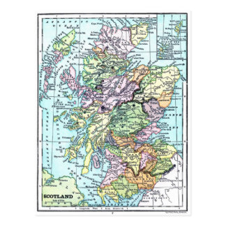 Vintage Atlas Map - Scotland Postcard