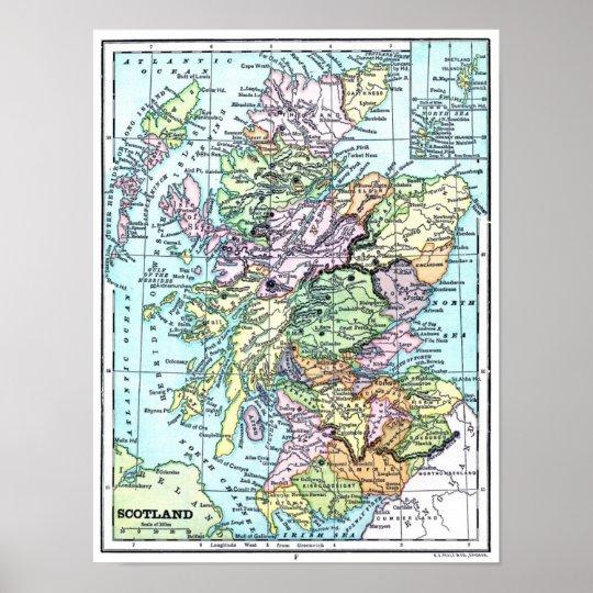 Vintage Atlas Map - Scotland Poster