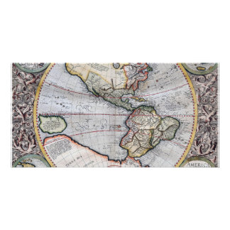 Vintage Atlas World Map Customized Photo Card