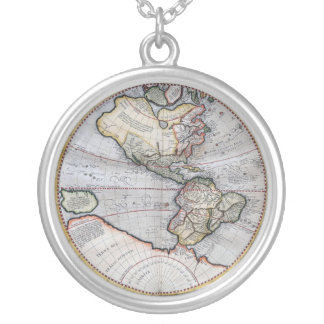 Vintage Atlas World Map Silver Plated Necklace
