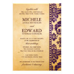 Vintage Aubergine Damask Lace Wedding Personalised Invite