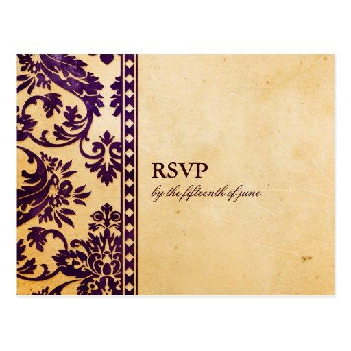 Vintage Aubergine Damask Lace Wedding RSVP Postcard
