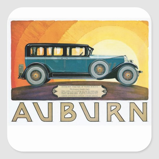 Vintage Auburn Motors Sunburst Ad Square Sticker