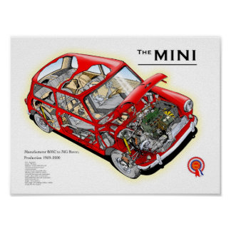 Vintage Austin Mini cutaway drawing Poster