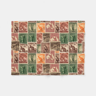 Vintage Australian Postage Stamps Collection Fleece Blanket