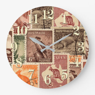Vintage Australian Postage Stamps Collection Large Clock