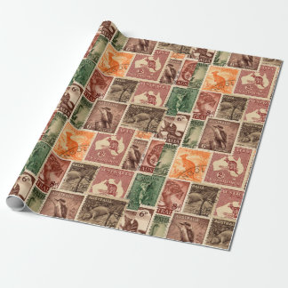 Vintage Australian Postage Stamps Collection Wrapping Paper