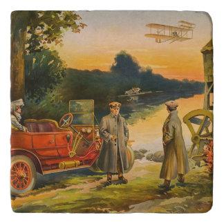 Vintage Auto & BiPlane Trivet