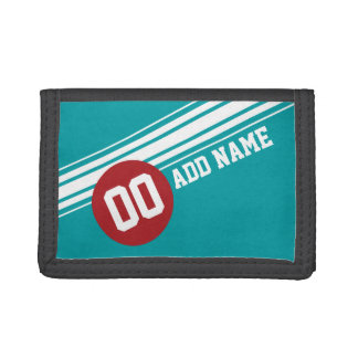 Vintage Auto Racing Stripes - Red and Teal Trifold Wallet