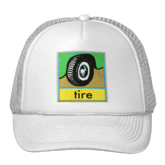 Vintage Auto Tires Spelling Alphabet T is for Tire Trucker Hat