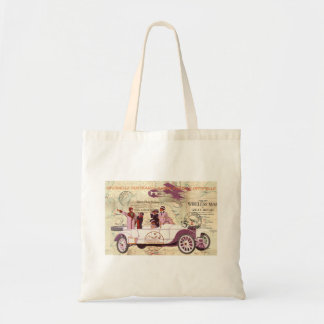 Vintage Automobile Biplane Sightseers Tote Bag