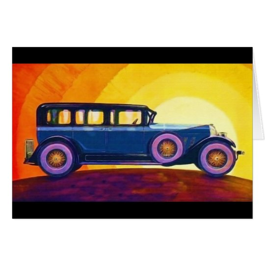 Vintage Automobile Rainbow Sunset Card