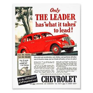 Vintage Automotive Print - Chevy 1939 Ad Artwork