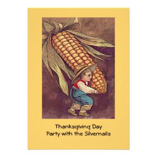 vintage autumn boy with corn custom announcements