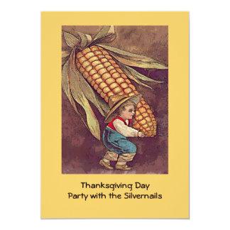 vintage autumn boy with corn 5x7 paper invitation card