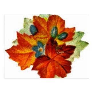 Vintage Autumn Leaves Fall Leaf Postcard