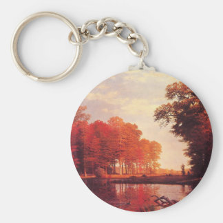 Vintage Autumn Pond Painting Key Chains